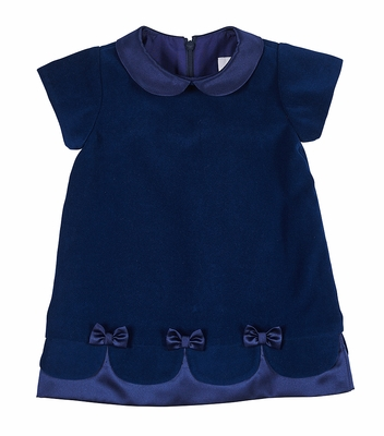Florence Eiseman Girls Royal Blue Velvet Holiday Party Dress with Scallop Hem and Bows