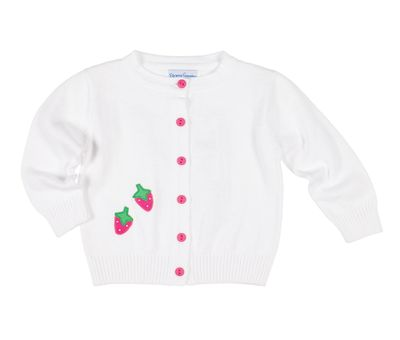 Florence Eiseman Girls White Cardigan Sweater - Pink Buttons - Strawberries
