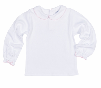 Florence Eiseman Girls White Knit Blouse - Peter Pan Collar - Picot Trim - Light Pink