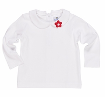 Florence Eiseman Girls White Knit Blouse - Red Flower