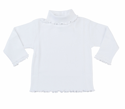 Florence Eiseman Girls White Rib Turtleneck Shirt - Lettuce Edges