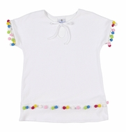 Florence Eiseman Girls White Terry Cover Up - Multi Color Pom Poms Trim