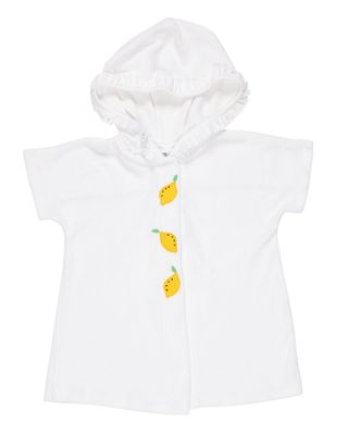 Florence Eiseman Girls White Terry Cover Up with Hood - Lemons