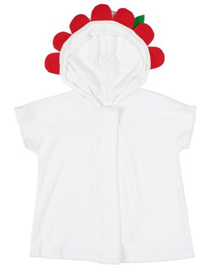 Florence Eiseman Girls White Terry Cover Up - Hood with Red Flower Petals