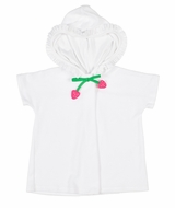 Florence Eiseman Girls White Terry Cover Up with Ruffle Hood - Strawberry Tie