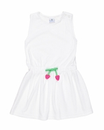 Florence Eiseman Girls White Terry Cover Up with Strawberry Tie at Waist