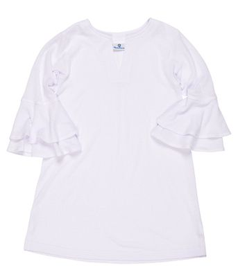 Florence Eiseman Girls White Textured Gauze Cover Up - Bell Sleeves
