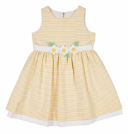 Florence Eiseman Girls Yellow Stripe Sleeveless Dress with Flowers at Waist