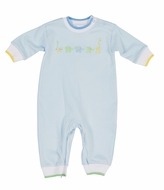 Florence Eiseman Infant Boys Blue Knit Romper - Embroidered Animals