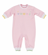 Florence Eiseman Infant Girls Pink Knit Romper - Embroidered Animals