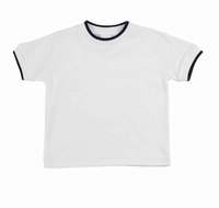 Florence Eiseman Infant / Toddler Boys White Cotton Tee Shirt - Navy Blue Tipping