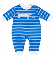 Florence Eiseman Knits Baby Boys Blue Striped Romper - Dachshund Dog