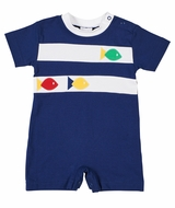 Florence Eiseman Knits Baby Boys Navy Blue Romper with Fish