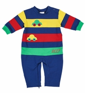 Florence Eiseman Knits Baby Boys Primary Colors Block Cars Romper