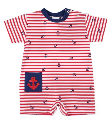 Florence Eiseman Knits Baby Boys Red Striped Anchor Romper with Pocket
