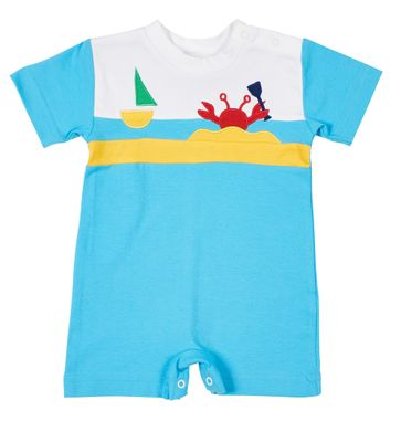 Florence Eiseman Knits Baby Boys Turquoise Blue Romper - Red Crab