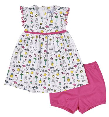 Florence Eiseman Knitwear - Baby Girls Pink Summer Print Dress with Bloomers