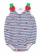 Florence Eiseman Knits Baby Girls Red Strawberry / Navy Blue Stripe Bubble