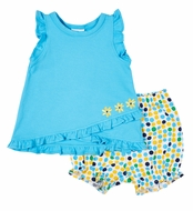 Florence Eiseman Knits Baby Girls Turquoise / Yellow Dots Bloomers Set