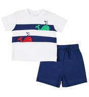 Florence Eiseman Knits Baby / Toddler Boys Navy Blue French Terry Shorts with Whale Shirt