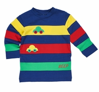 Florence Eiseman Knits Baby / Toddler Boys Primary Colors Block Cars Shirt