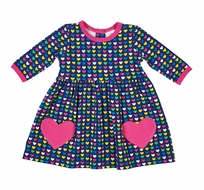 Florence Eiseman Knits Baby / Toddler Girls Navy Blue Heart Pockets Dress