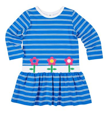 Florence Eiseman Knits Girls Blue Striped Dress with Flowers