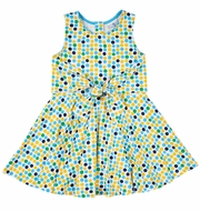 Florence Eiseman Knits Girls Blue / Yellow Dots Tie Front Twirl Dress