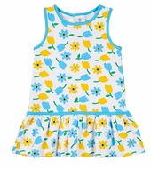Florence Eiseman Knits Girls Blue / Yellow Tulips Dress with Tie in Back