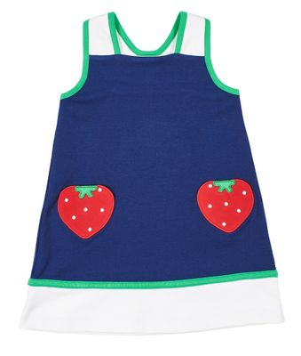 Florence Eiseman Knits Girls Navy Blue Knit Dress - Red Strawberry Pockets