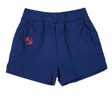 Florence Eiseman Knits Girls Navy Blue French Terry Shorts with Red Anchor