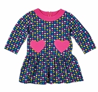 Florence Eiseman Knits Girls Navy Blue / Pink Heart Pockets Dress