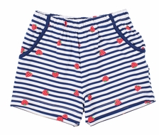 Florence Eiseman Knits Girls Navy Blue Stripe / Red Strawberry Shorts