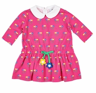 Florence Eiseman Knits Girls Pink Flower Print Dress with Collar