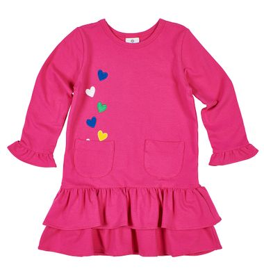 Florence Eiseman Knits Girls Pink Hearts Applique Dress with Pockets