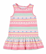 Florence Eiseman Knits Girls Pink Pastels Striped Dress with Heart Tie in Back