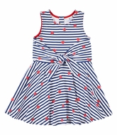 Florence Eiseman Knits Girls Red Strawberry / Navy Blue Stripe Tie Front Twirl Dress