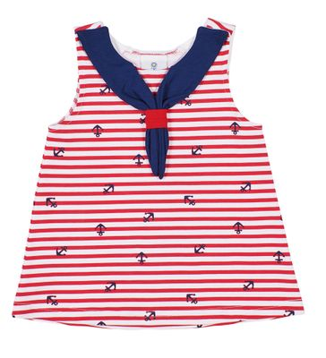 Florence Eiseman Knits Girls Red Stripe / Navy Blue Anchors Sailor Tunic Top