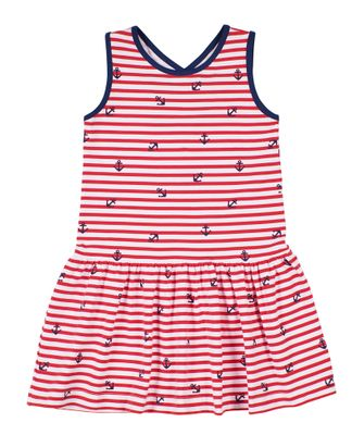 Florence Eiseman Knits Girls Red Striped Anchor Dress - Cross Back