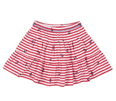 Florence Eiseman Knits Girls Red Striped Skort with Anchor Embroidery