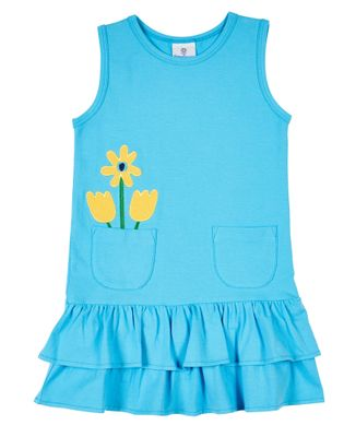Florence Eiseman Knits Girls Turquoise Blue Dress - Yellow Tulips in Pocket