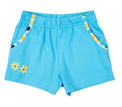Florence Eiseman Knits Girls Turquoise Blue Shorts - Dot Pockets
