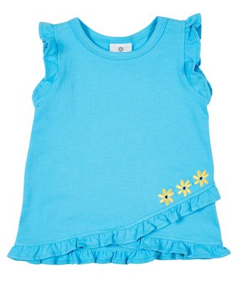Florence Eiseman Knits Girls Turquoise Ruffle Top with Flowers
