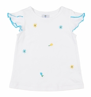 Florence Eiseman Knits Girls White Flutter Sleeve Top - Turquoise Flower Embroidery