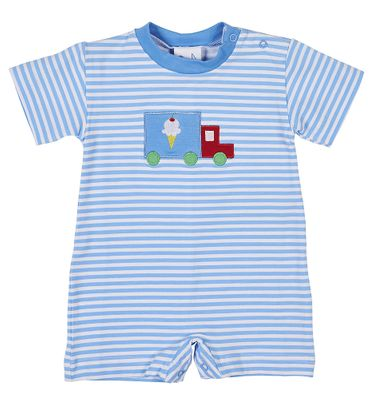 Florence Eiseman Knitwear - Baby Boys Blue Striped Ice Cream Truck Romper