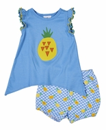 Florence Eiseman Knitwear - Baby Girls Blue / Yellow Pineapple Bloomer Set