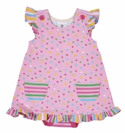 Florence Eiseman Knitwear - Baby Girls Pink Confetti Dots Overlay Bubble with Pockets