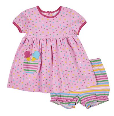 Florence Eiseman Knitwear - Baby Girls Pink Dots Ice Cream Cones Pocket Dress with Striped Bloomers