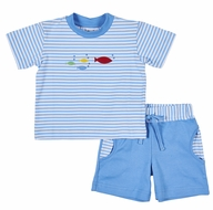 Florence Eiseman Knitwear - Baby / Toddler Boys Blue Stripe Shorts Set - Fish