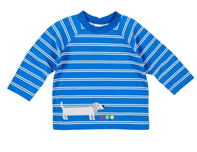 Florence Eiseman Knits Baby / Toddler Boys Blue Striped Shirt - Dachshund Dog
